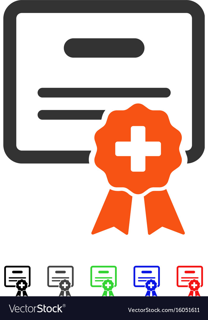 Medical certification flat icon Royalty Free Vector Image