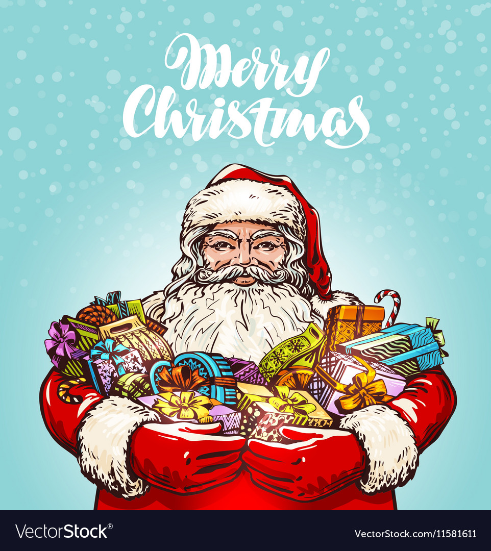 Merry Christmas Santa Claus and gifts
