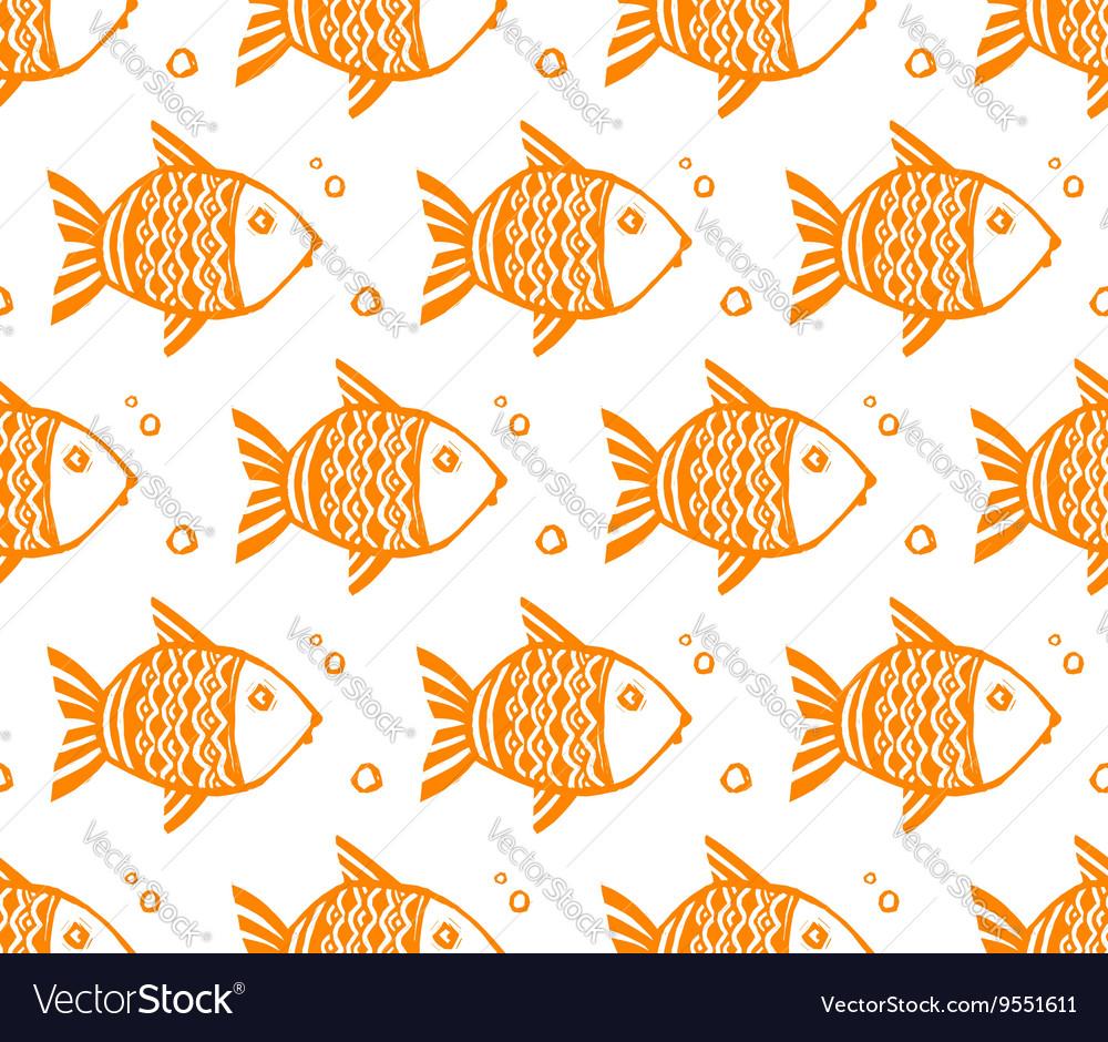 Orange grunge fishes seamless pattern