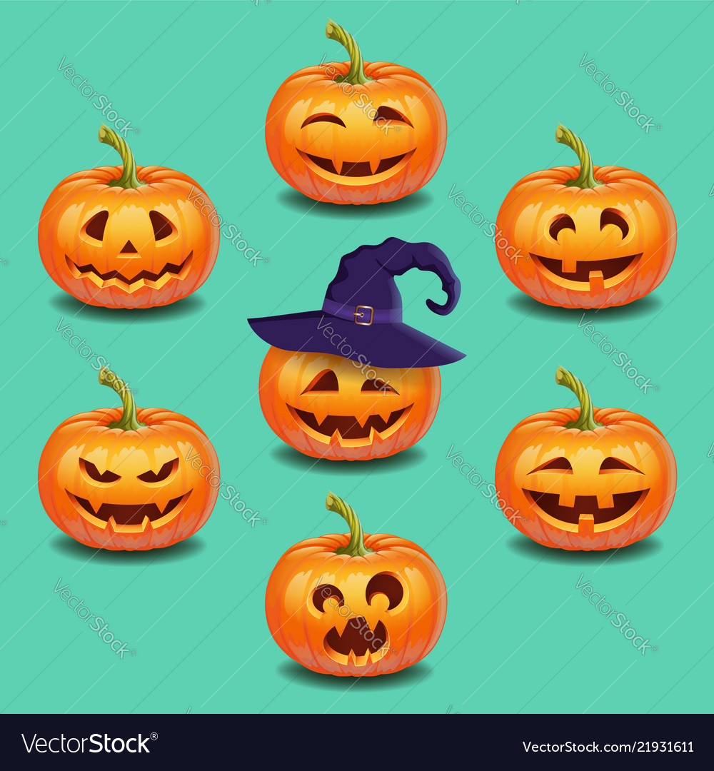 Set of bright colorful halloween pumpkins face
