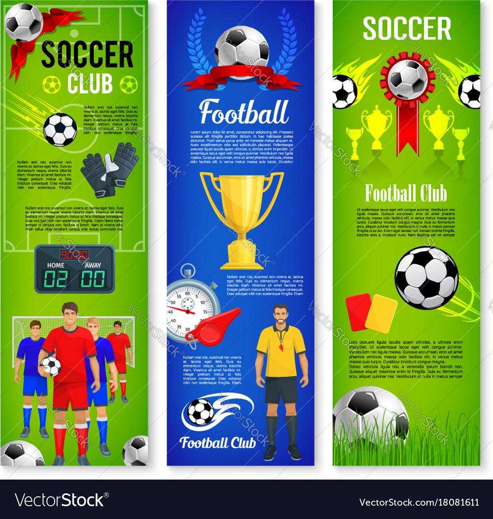 soccer or football sport game banner template set vector image