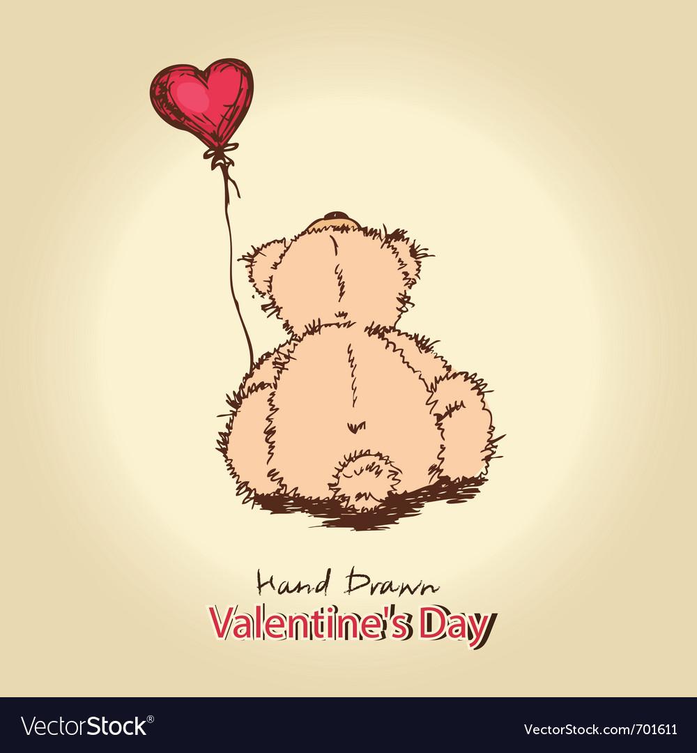 Teddy bear with red heart balloon