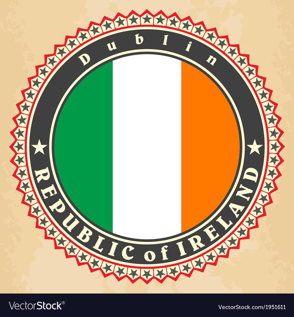Vintage label cards ireland flag