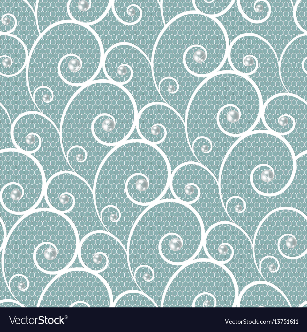 White lace seamless pattern with pearls