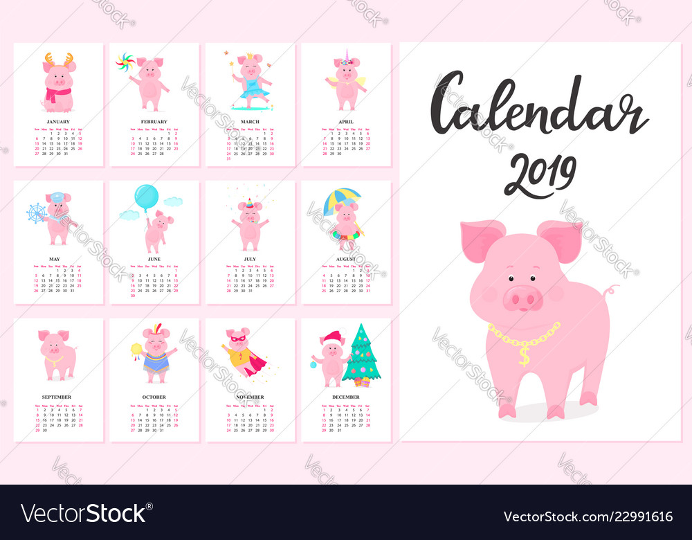 Calendar for 2019 from sunday to saturday cute
