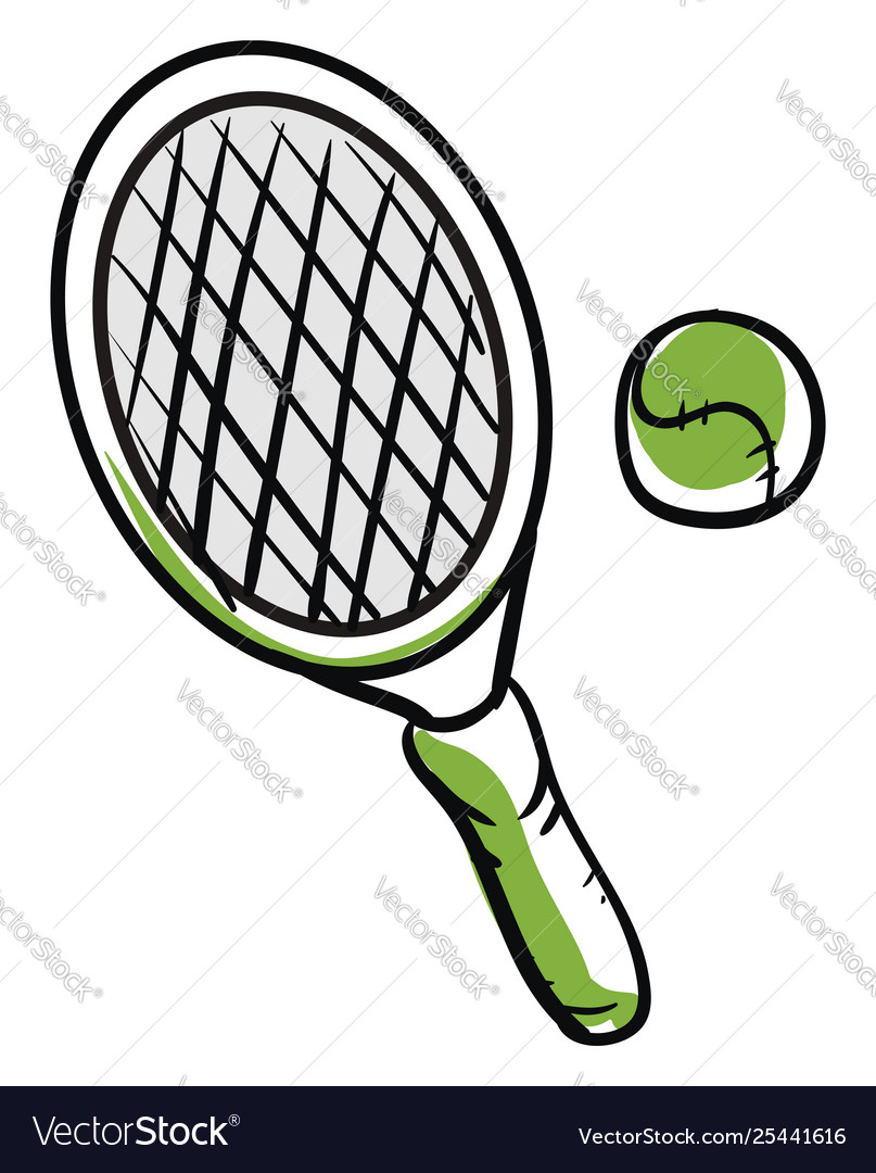 Drawing Tennis Ball And Racket Or Color Royalty Free Vector