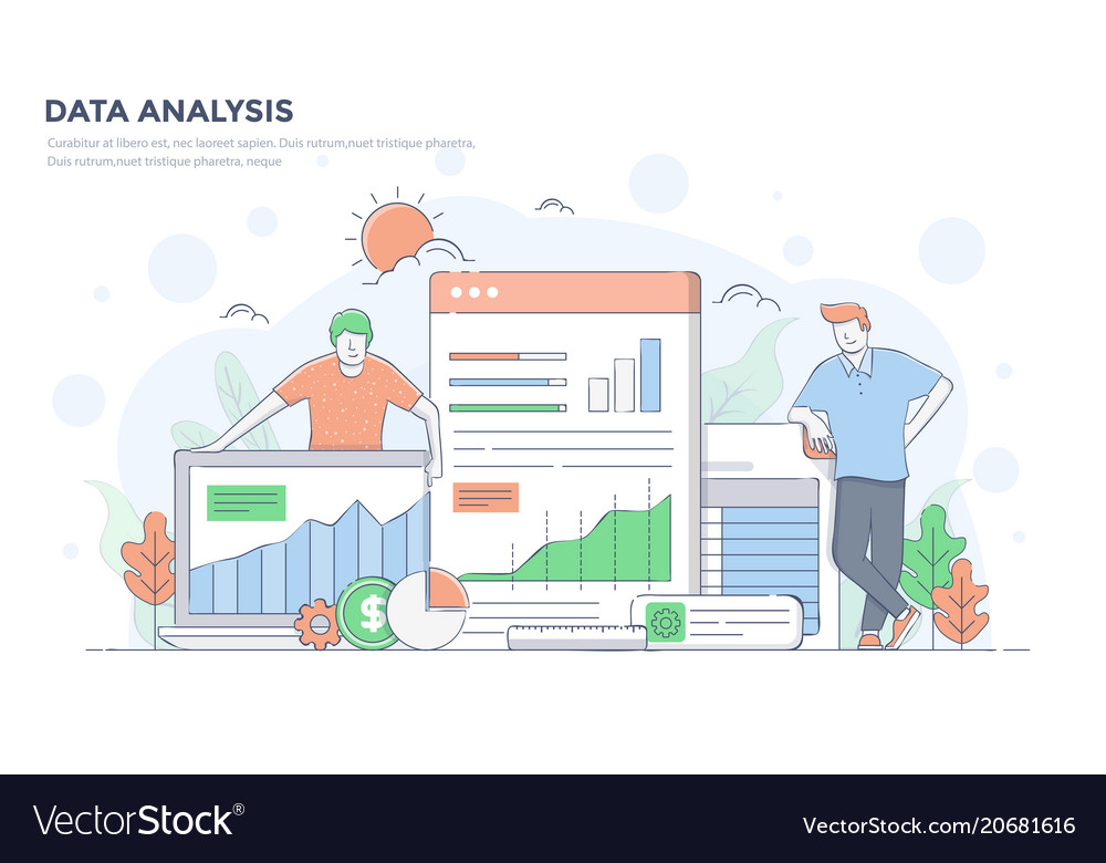 Flat line modern concept - data analysis