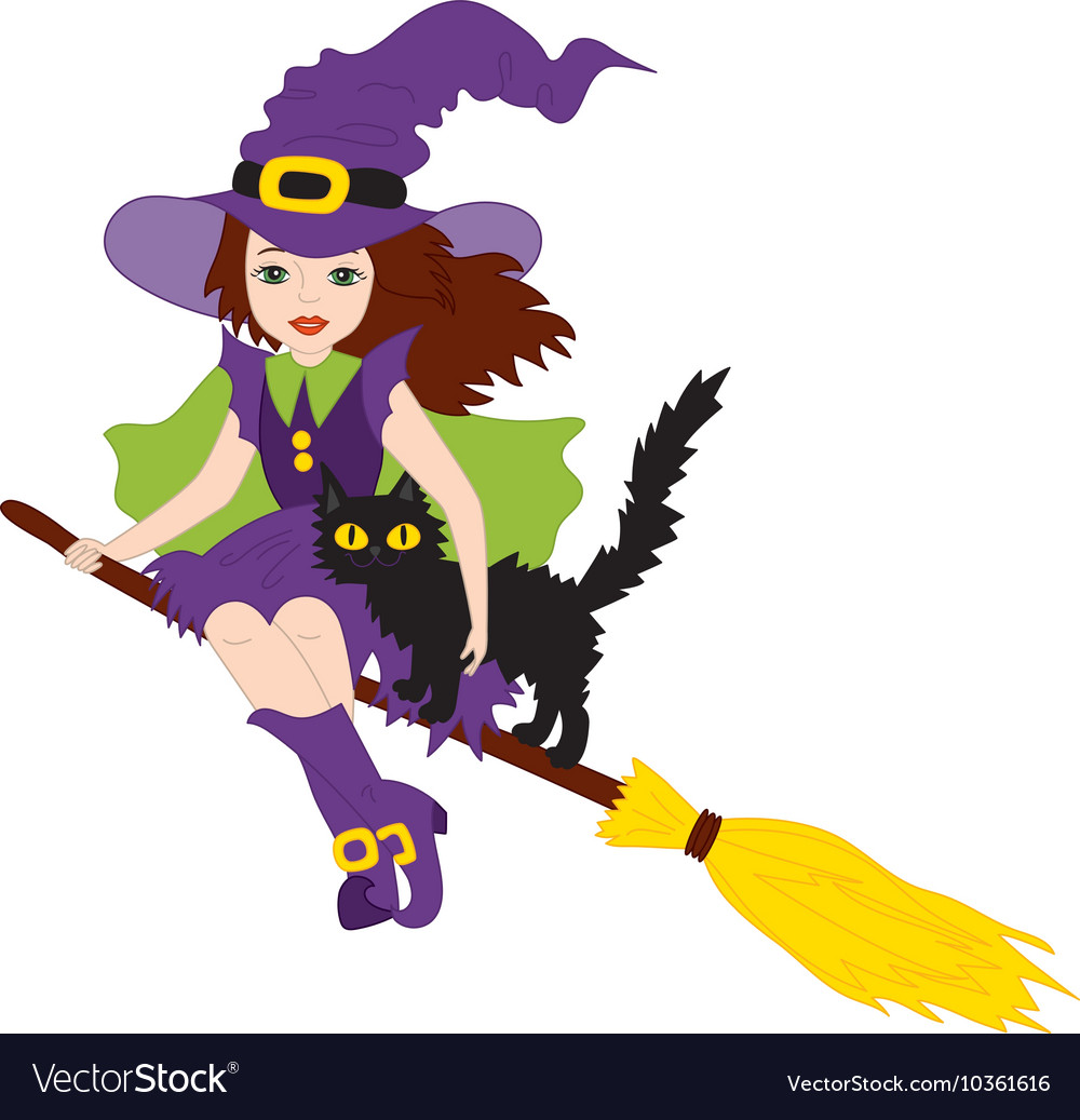 Halloween Witch with Cat