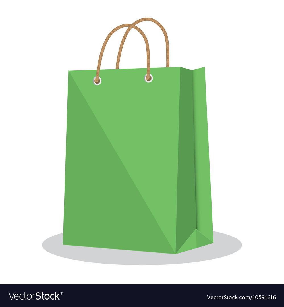 e581fb9a53 Icon bag green shop paper design Royalty Free Vector Image