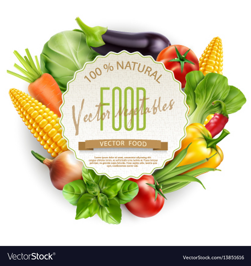 Menu with vegetablesa and round card for text vector image