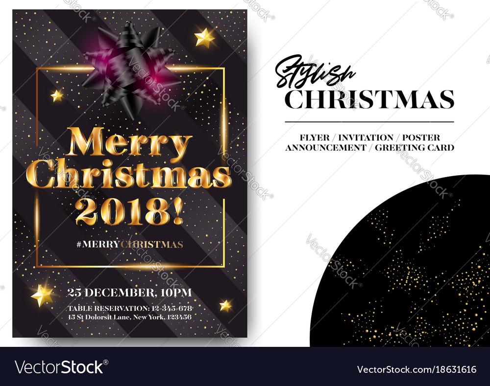 Merry Christmas 2018 Stylish Black Greeting Card Vector Image