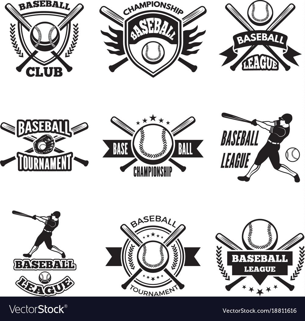 Monochrome labels or emblem for baseball club