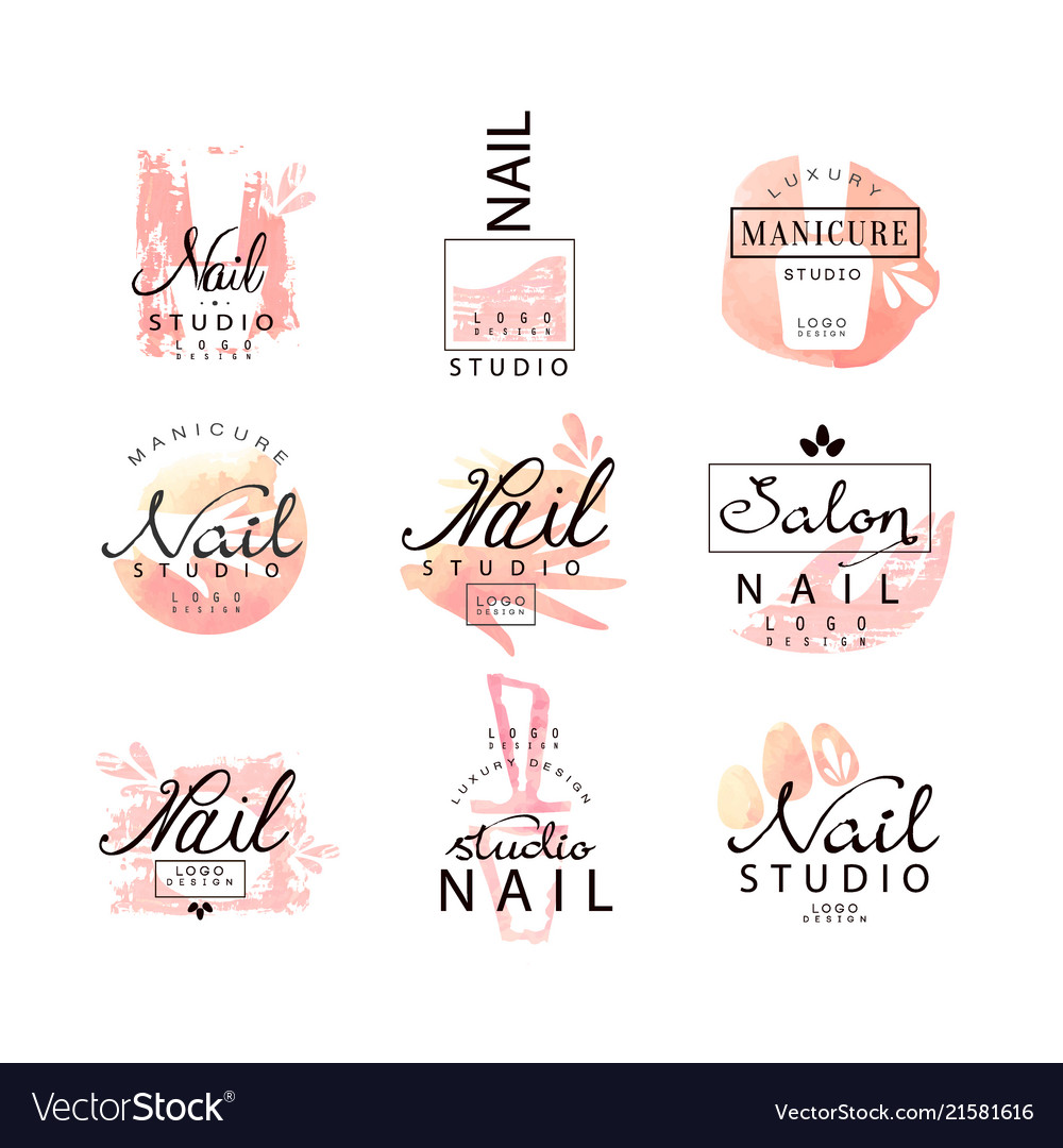 Nail studio logo design set creative templates
