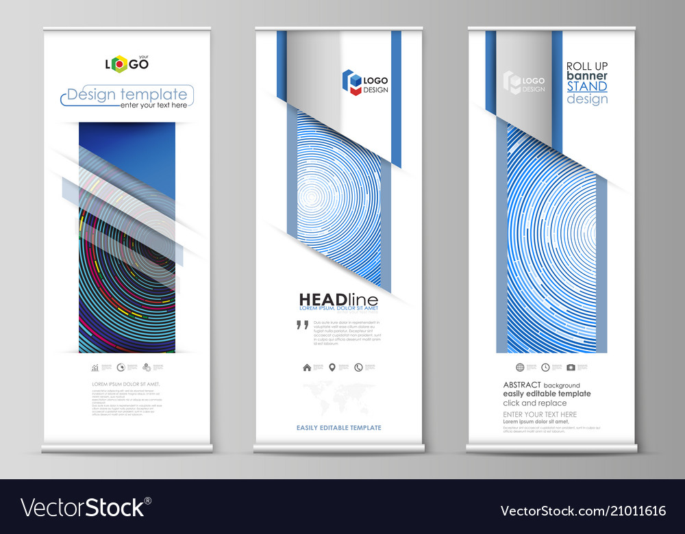 Roll Up Banner Stands Flat Design Templates