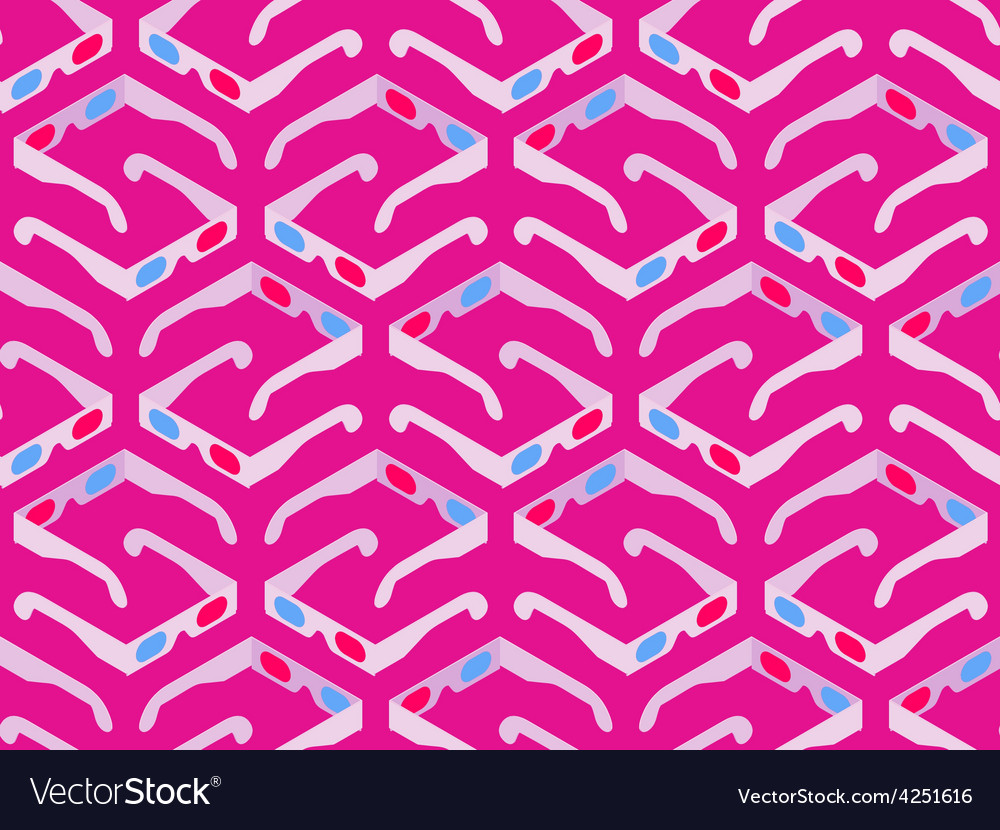 Seamless pattern with isometric 3d stereo glasses