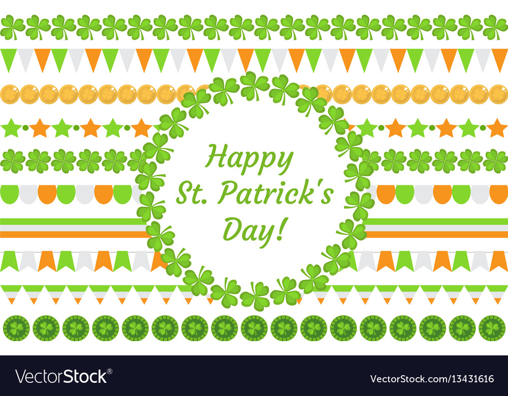 St patrick s day border garland with clover