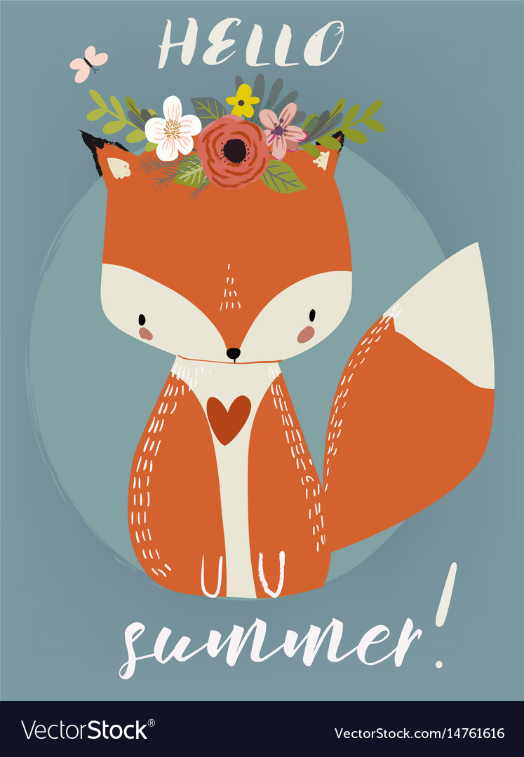 Summer cute fox vector image