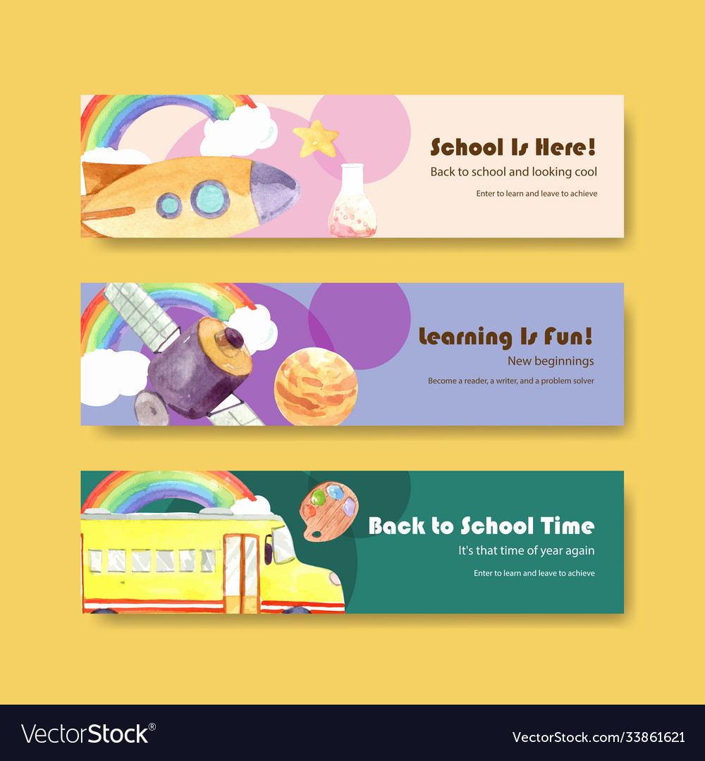 Back to school and education concept with banner