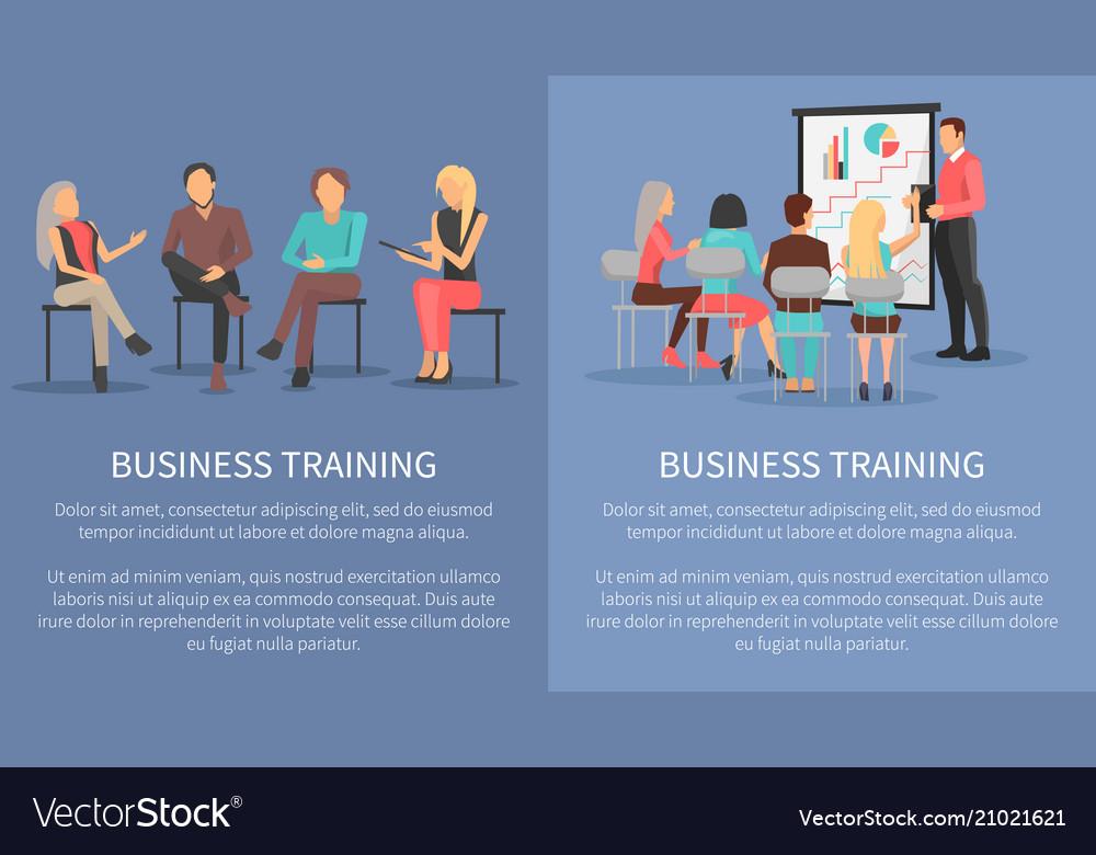 Business training set posters success motivation