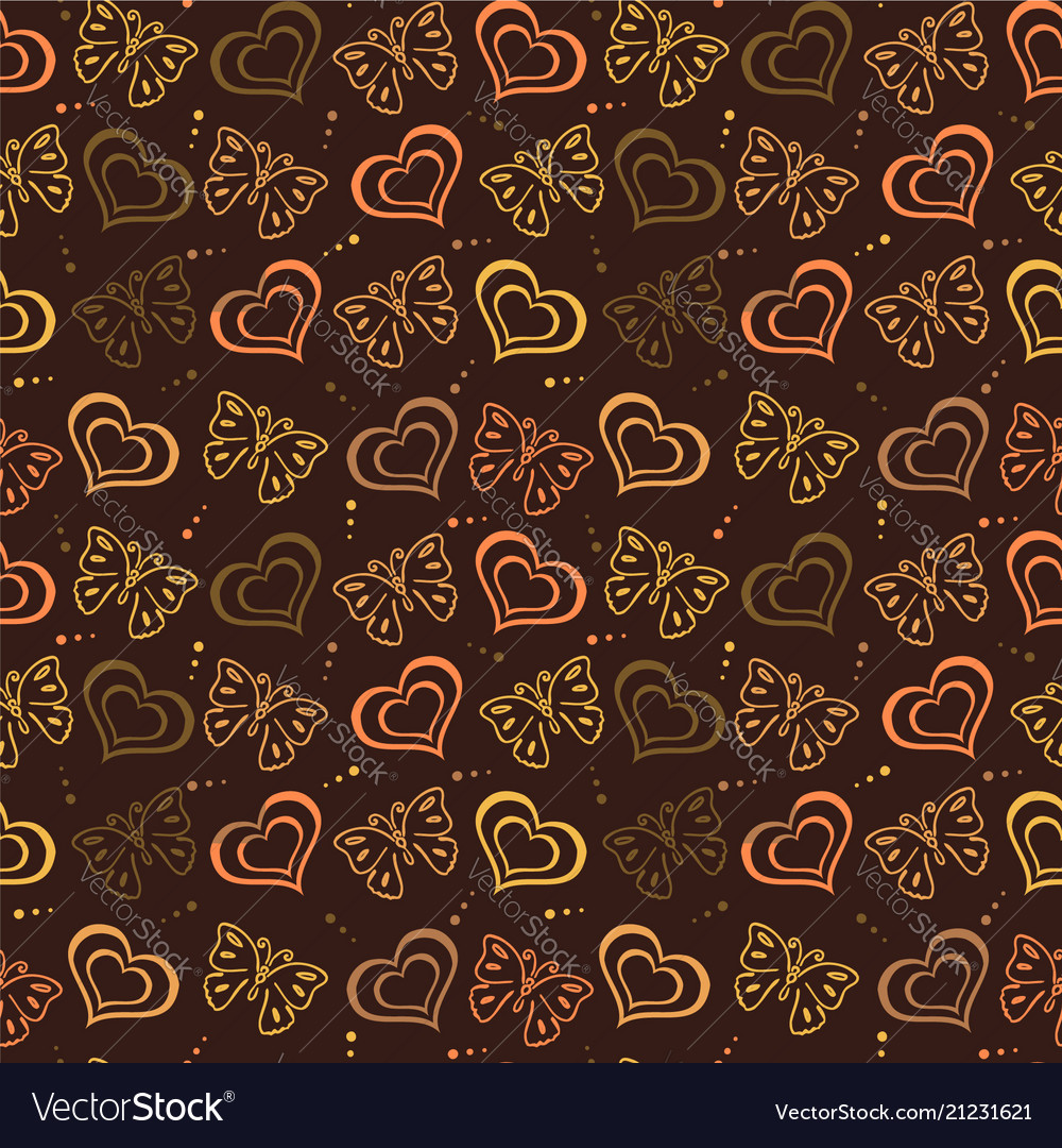 Butterfly love hand drawn pattern with brown color