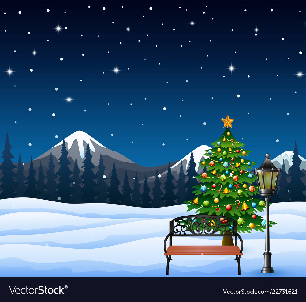 Cartoon of christmas tree decorated and bench with
