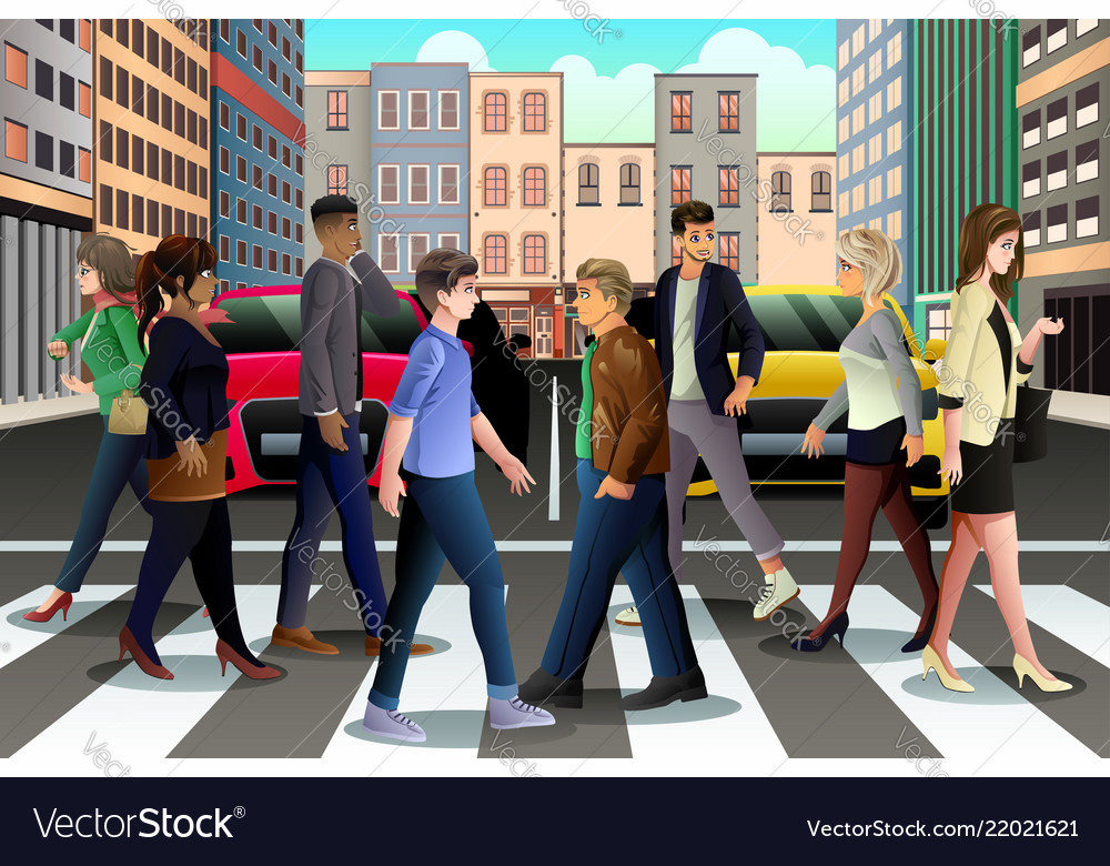 City people crossing the street during rush hour