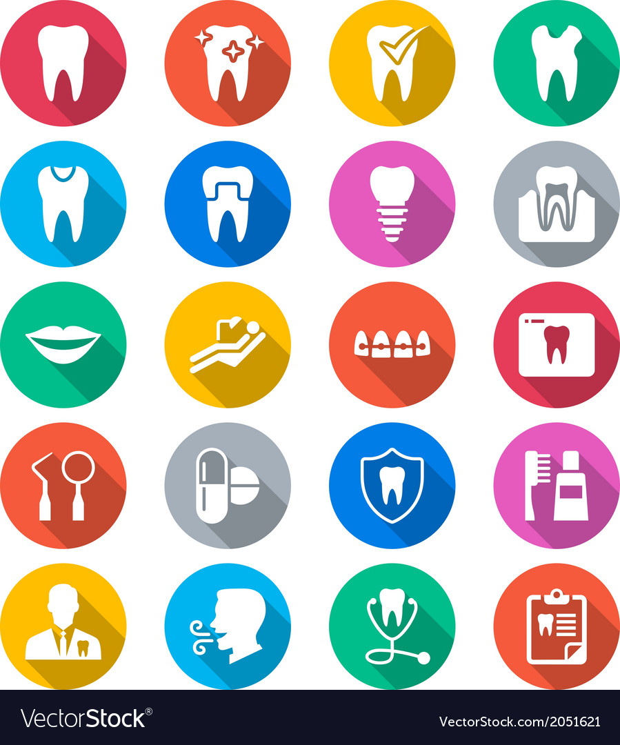 Dental flat color icons