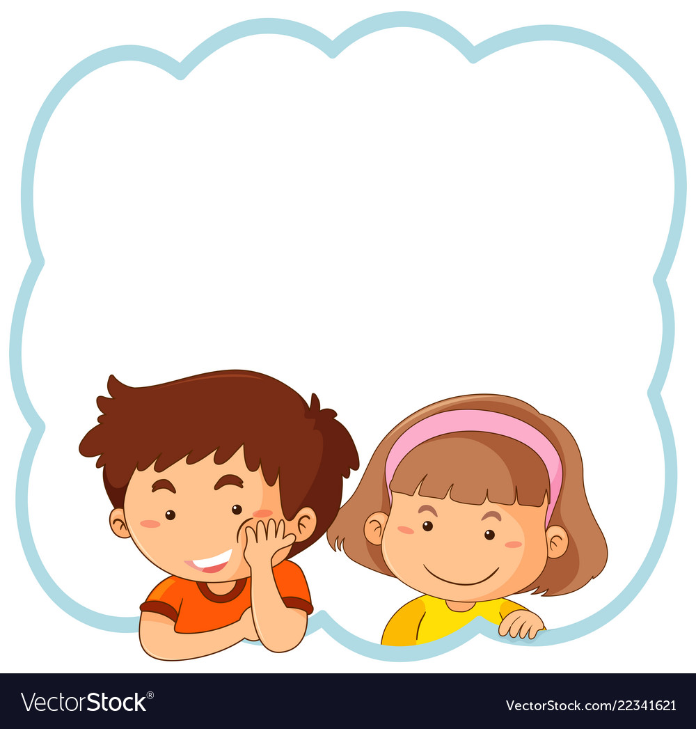 Flat Boy And Girl Frame Royalty Free Vector Image