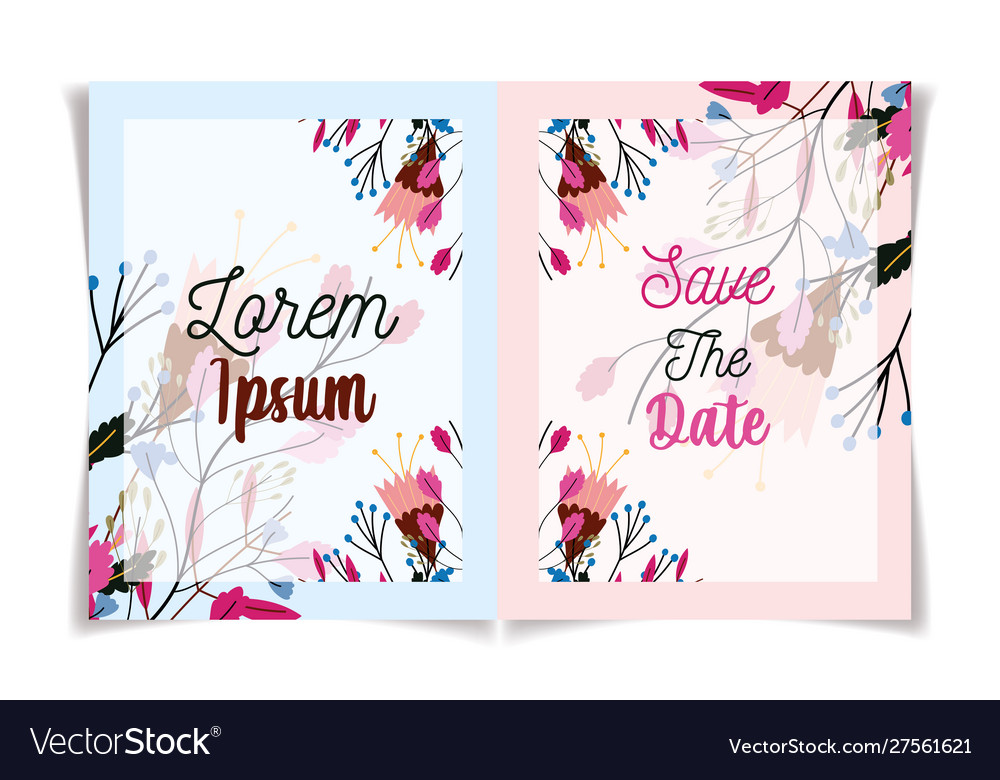 Floral wedding flowers botanical invite and save