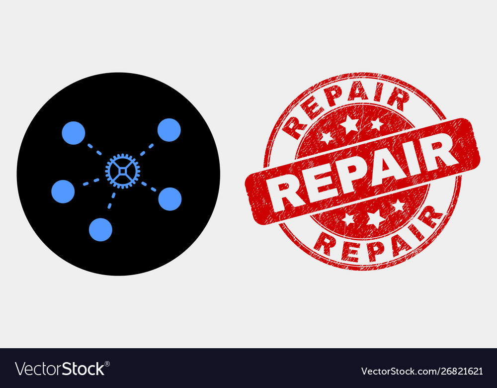 Gear links icon and distress repair stamp
