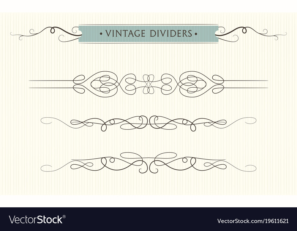 Hand drawn flourishes vintage text dividers vector image