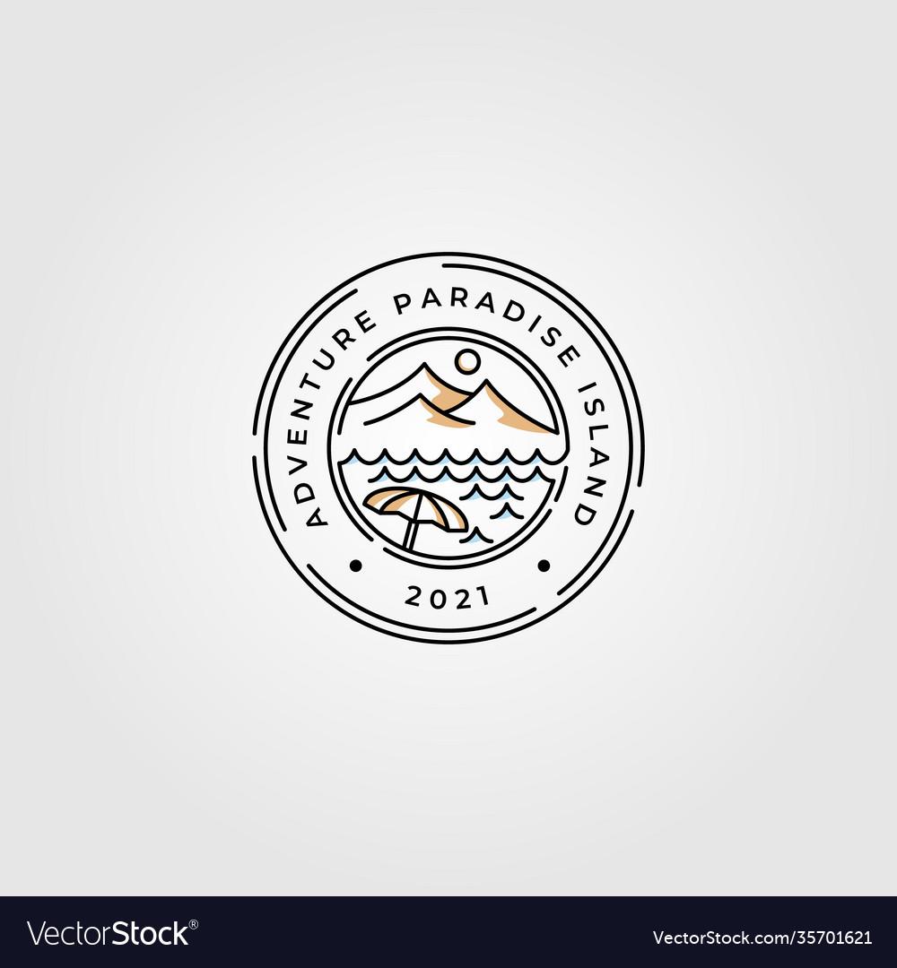 Mountain and beach line art logo minimalist design