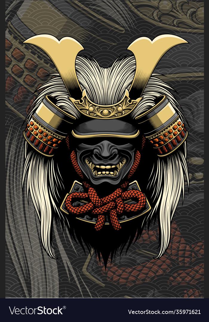 Samurai helmet with hair accessories