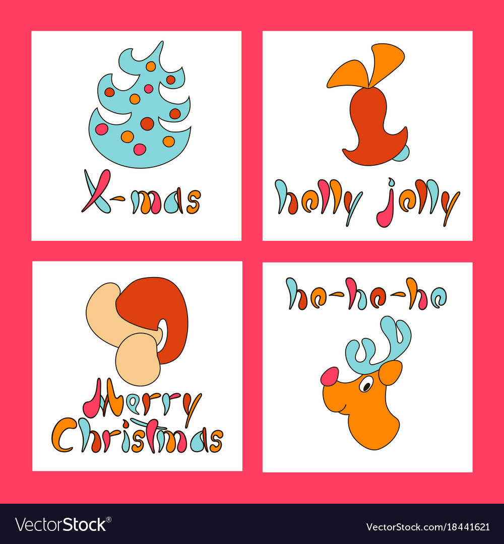 Set of christmas greeting cards new year xmas vector image m4hsunfo