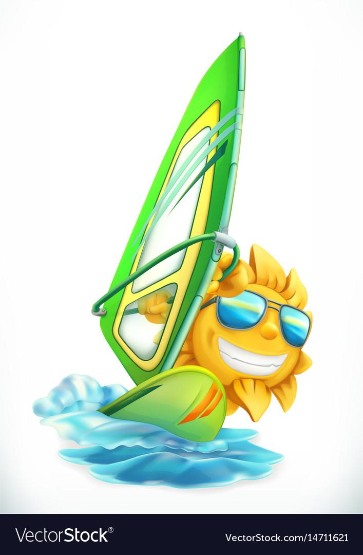 Summer windsurfing funny sun on surfboard 3d icon