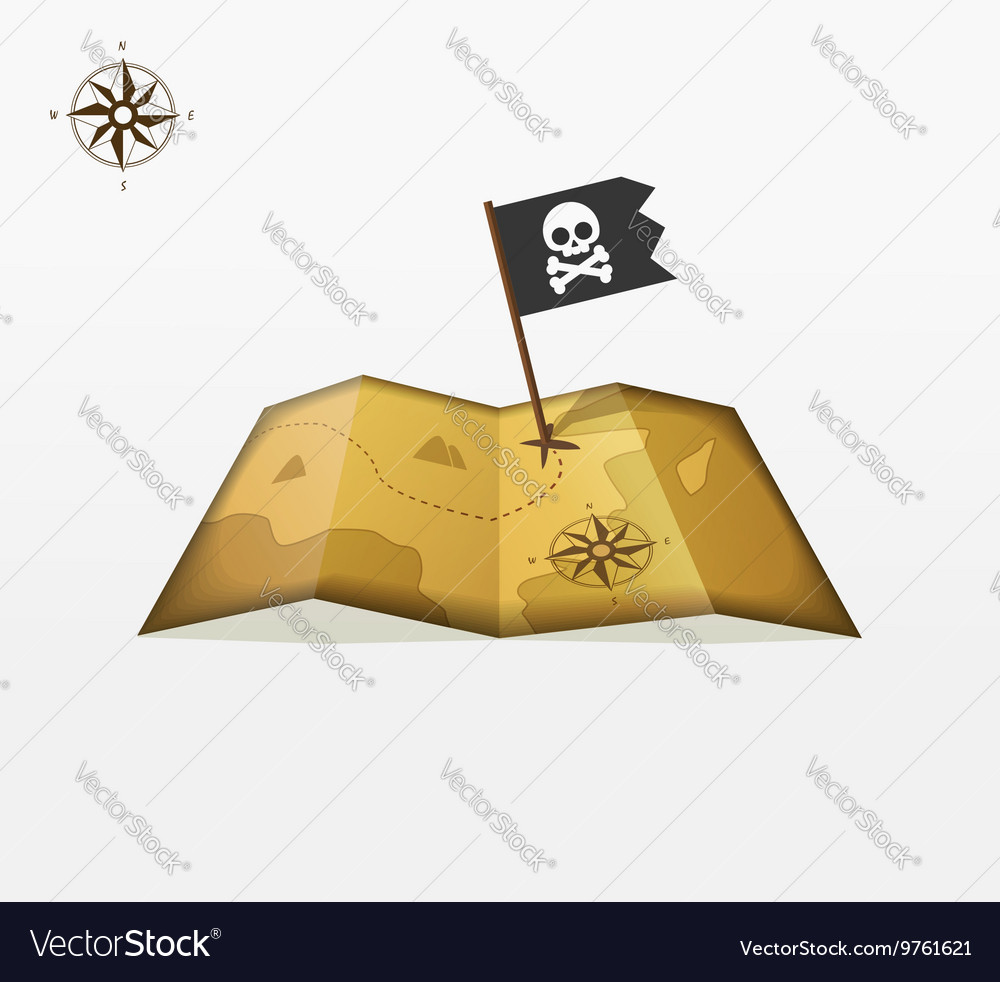 Treasure map with coordinates and pirate
