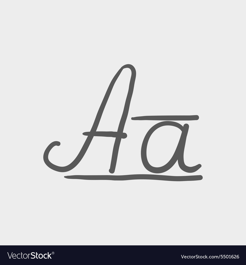 Cursive letter a sketch icon Royalty Free Vector Image