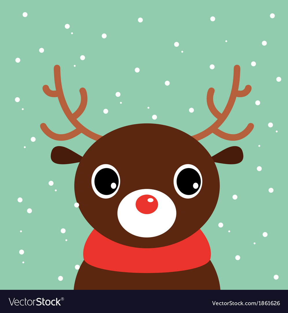 Cute Christmas Pictures.Cute Cartoon Christmas Deer On Snowing Background