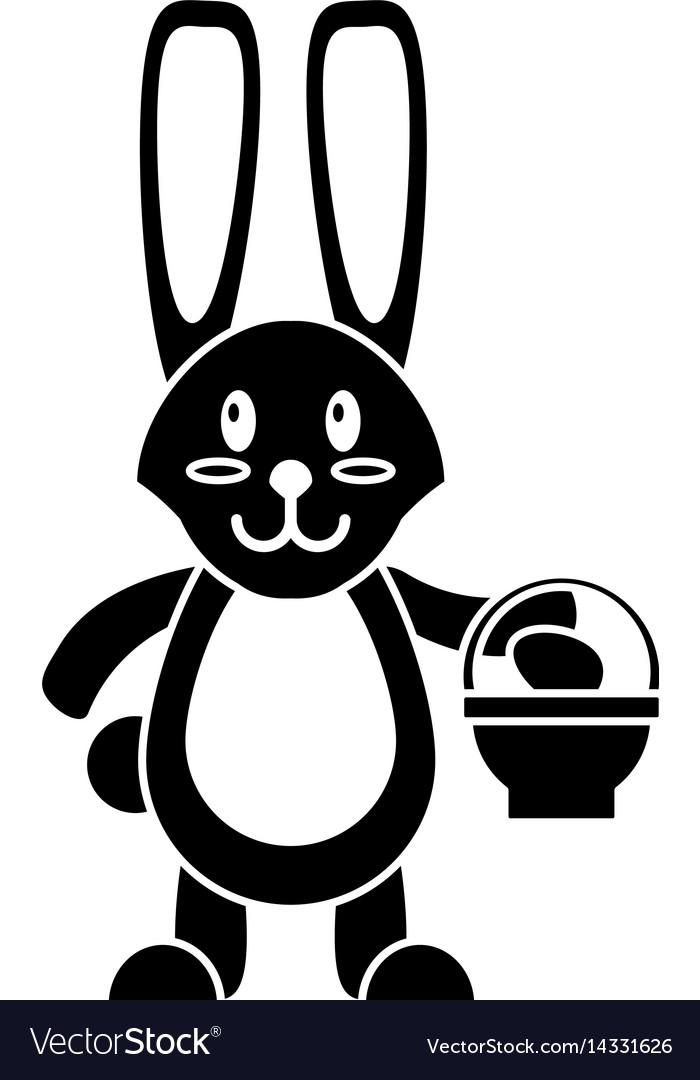 Easter bunny with basket egg pictogram