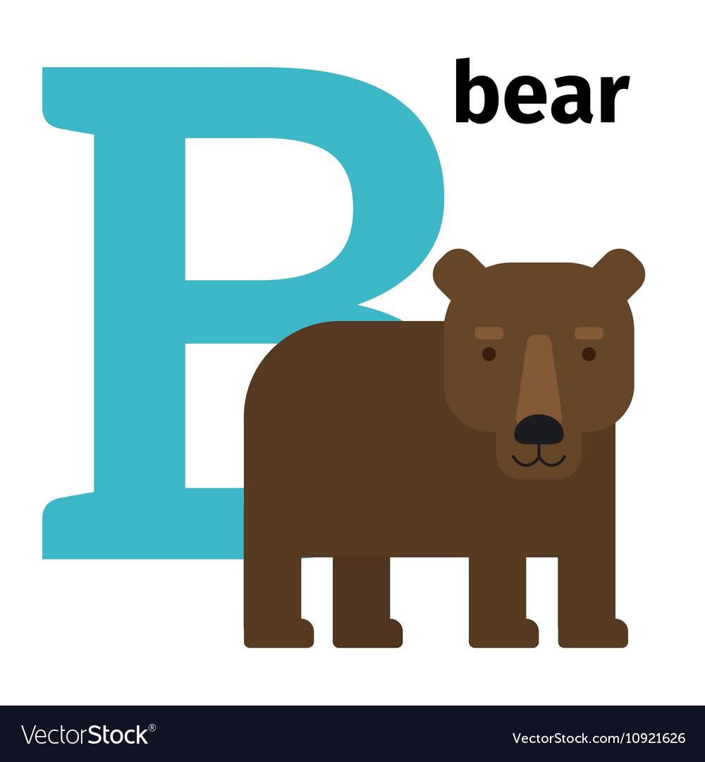 English animals zoo alphabet letter B vector image