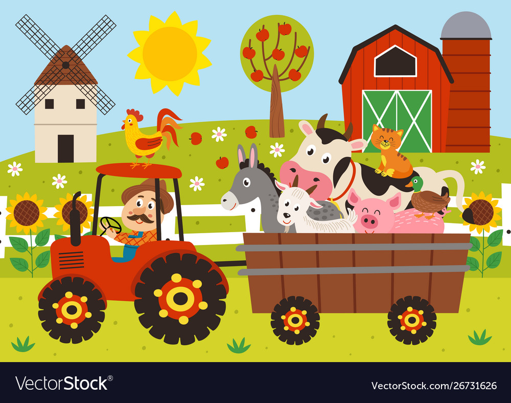 Farmer and farm animals riding a tractor