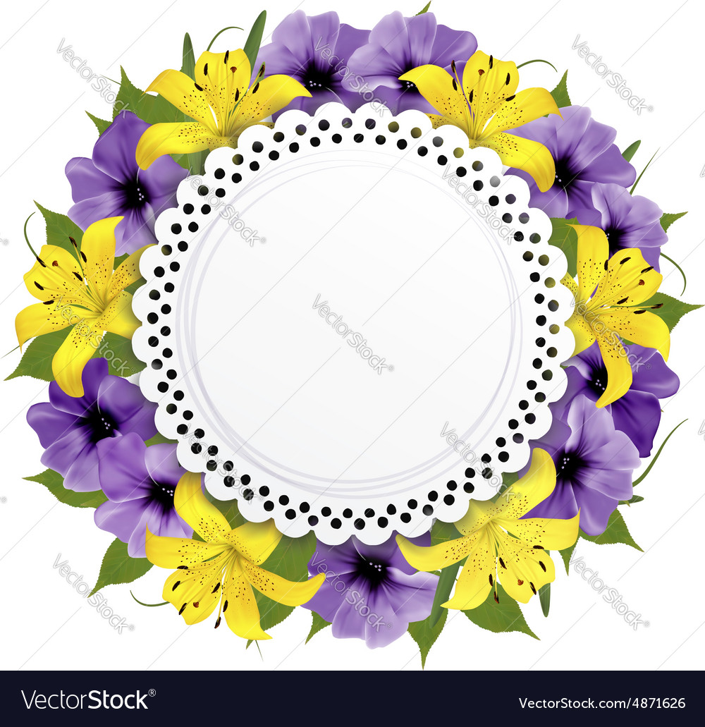 Greeting card with beautiful flowers Royalty Free Vector