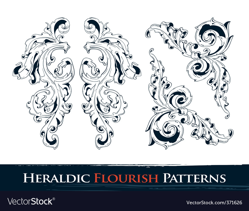 Heraldic flourish patterns