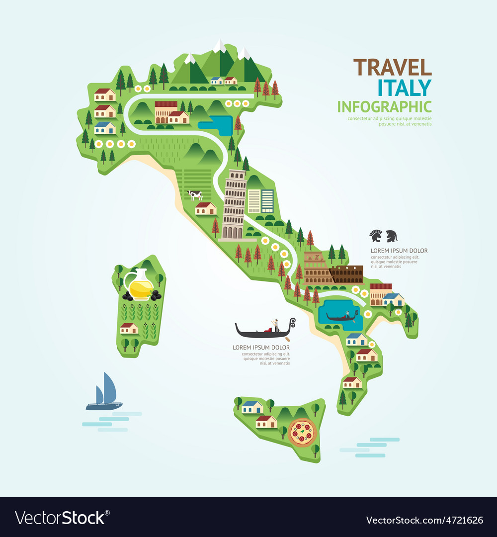 Pdf Map Of Italy.Infographic Travel And Landmark Italy Map Shape