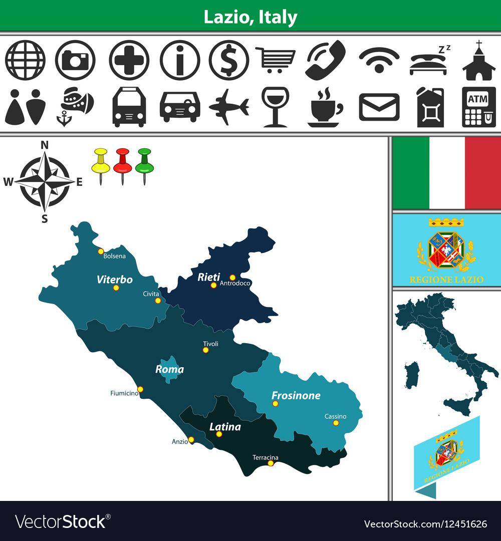 Rieti Italy Map.Map Of Lazio Royalty Free Vector Image Vectorstock
