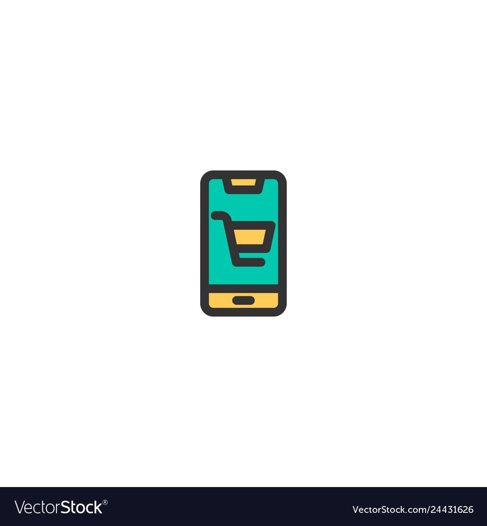Mobile shopping icon design e-commerce icon design