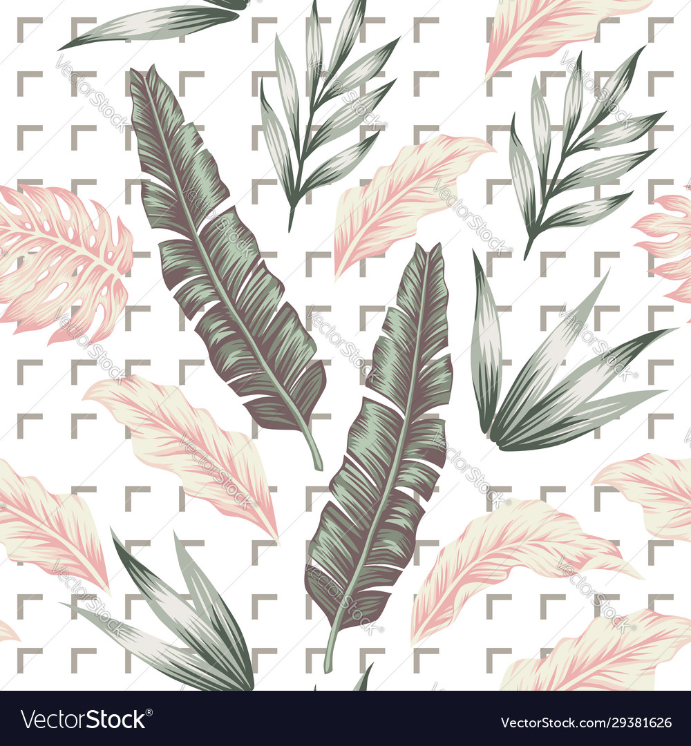 Pastel color leaves seamless pattern white