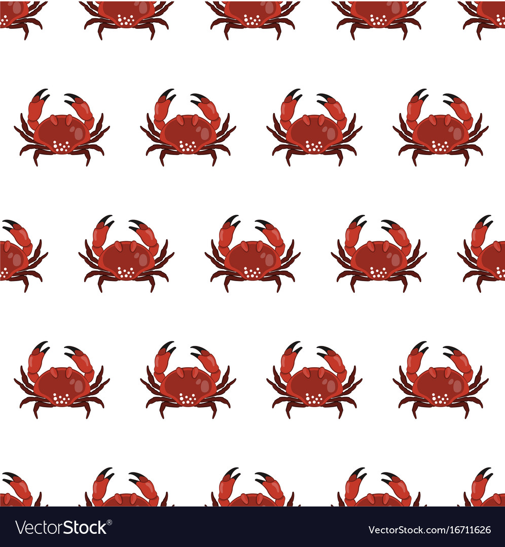 Seamless pattern with crab in cartoon style