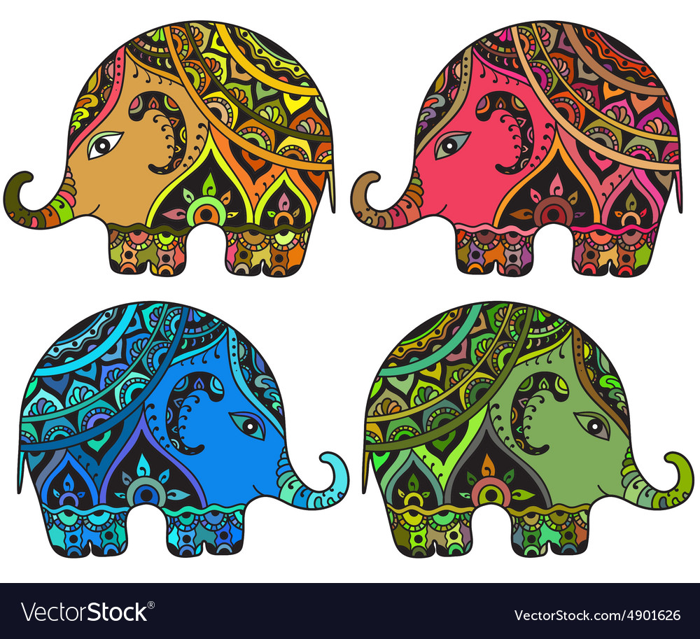 stylized fantasy patterned elephants in indian vector image