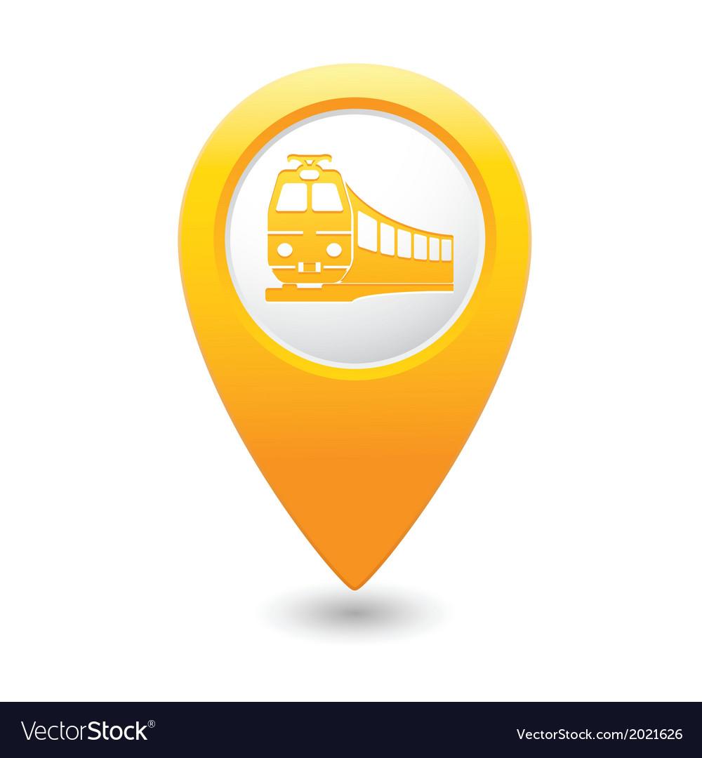 Train icon on map pointer yellow